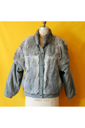 rabbit fur no brand jacket