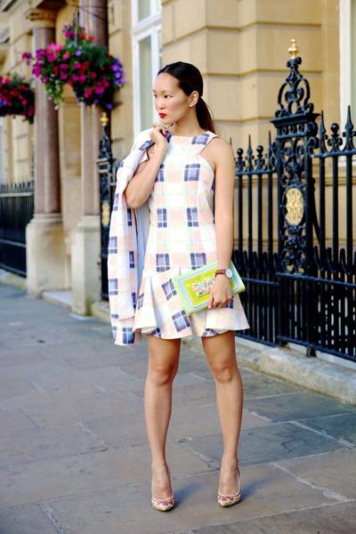 Finders Keepers blazer - Finders Keepers dress - Grey Book bag