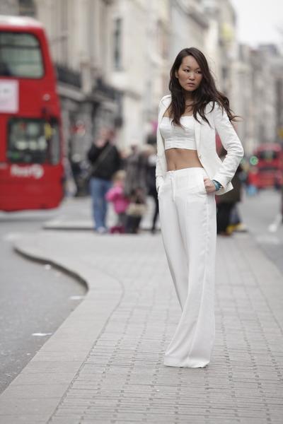 jacquard blazer Zara blazer - Mango pants - crop top Mango top