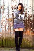 Hackett sweater - Christian Louboutin boots - Topshop skirt