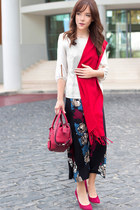 red fringed Pierre Cardin scarf - red tote DKNY bag