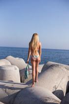 orange bikini top Triangl swimwear - light blue bikini bottom Triangl swimwear