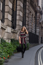 black ankle Massimo Dutti boots - red stripe YAS dress