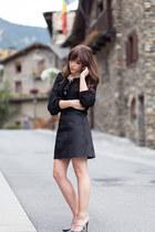 black velvet combined Zara top - black mini fur Zara skirt