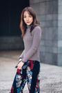 Black-striped-massimo-dutti-sweater-black-clutch-mango-bag