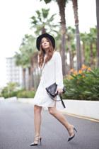 white shirt Zara dress - green fedora Zara hat