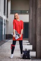 blue Soorty jeans - carrot orange shirt Zara dress