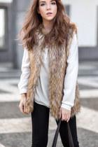 white silk Lanidor shirt - dark brown leather tote Michael Kors bag