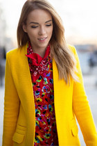 yellow structured Zara coat - red floral Sonia Rykiel dress