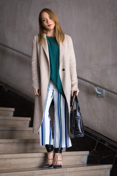 gray rock stud Valentino heels - green t-shirt asos dress - beige long Zara coat