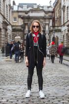 black wool Stradivarius coat - black leather Topshop leggings