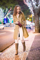 camel Geox boots - camel trench Massimo Dutti coat