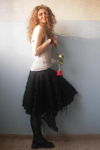 Fornarina skirt - DrMartens boots - maison scotch top - La Perla bra