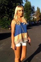 blue gold BSB top - animal print pull&bear purse - white Zara shorts