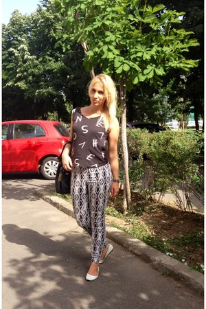 H&M top - donna karen purse - H&M pants - H&M flats