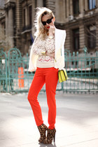 white Mango blazer - light yellow hm purse - cream H&M blouse