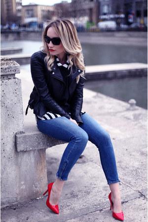 hm jeans - Zara jacket - hm blouse