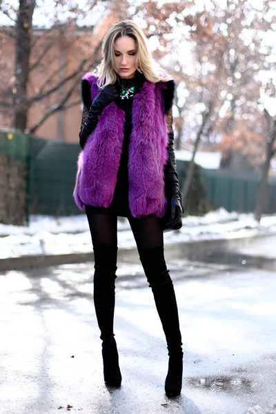 black Casadei boots - teal Zara necklace