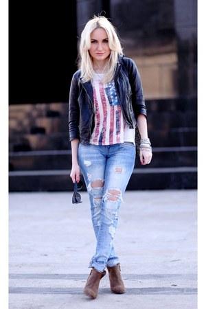 sky blue LTB jeans - light brown Zara boots - black Bershka jacket