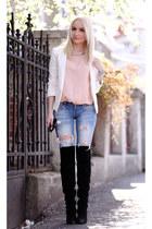 ivory Mango blazer - black Zara boots - sky blue LTB jeans