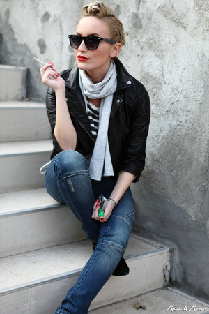 black Bershka jacket - blue Peackoks jeans - silver meli melo scarf
