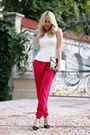Hot-pink-lashez-pants-ivory-h-m-top-black-zara-heels