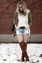 tawny Bershka boots - olive green Mango jacket - white Zara sweater