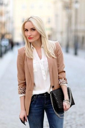 bronze Zara blazer - blue Mango jeans - ivory Lashez shirt - black no name purse