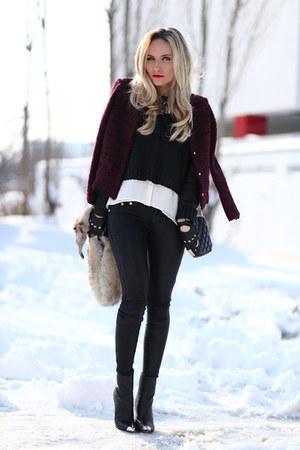 black Zara boots - maroon IRO jacket - black Zara purse