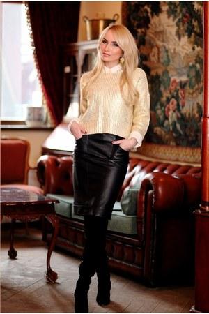 gold Orsay jumper - black Zara boots - ivory Topshop shirt - black vintage skirt