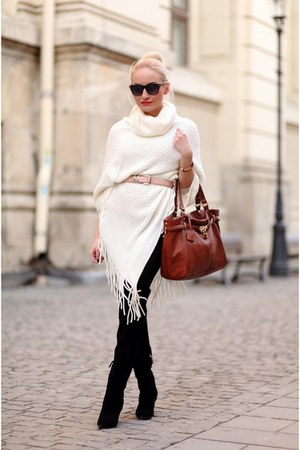 eggshell New Yorker cape - black Zara boots - ruby red no brand bag