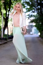 light blue Glowfashionro pants - ivory Mango blazer - light pink Lashez blouse