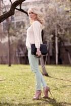 tan asoscom pumps - black no name purse - ivory Zara jumper