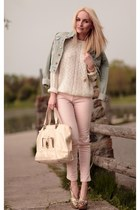 light blue H&M jacket - ivory no name blouse - light pink Lashez pants