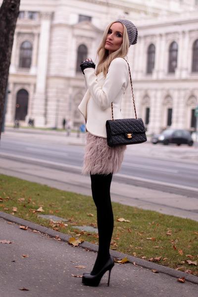black Chanel purse - ivory Givenchy blazer - black Yves Saint Laurent heels