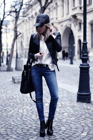 black Jeffrey Campbell boots - black Zara jacket