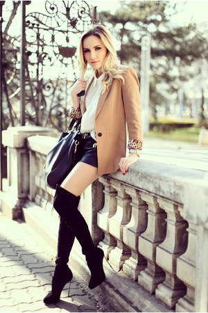black Casadei boots - bronze Zara blazer