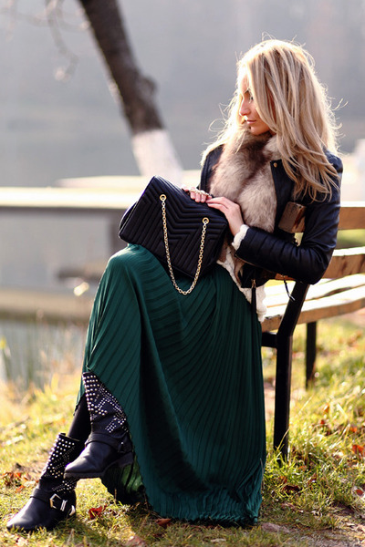 teal denny rose skirt - black Zara boots - black Zara jacket