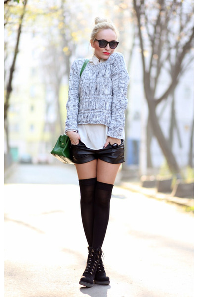 silver new look sweater - black deichman boots - off white Lashez shirt