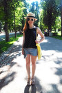Cream-unknown-hat-yellow-unknown-bag-sky-blue-zara-shorts-navy-unknown-top