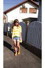 Light-blue-diy-shorts-yellow-h-m-t-shirt-tawny-h-m-sandals