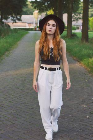 white polyester She Inside pants - black H&M hat - dark green cotton Monki top