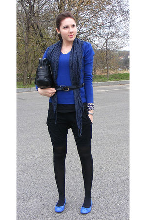 blue dunnes stores sweater - blue  scarf - blue SH belt - blue Atmosphere shoes