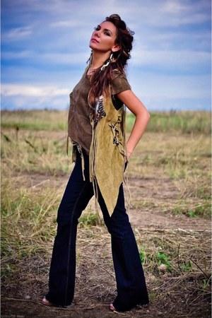 Zara jeans - leather Muubaa top