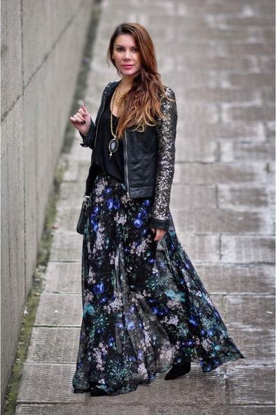 Topshop skirt - black Selected Femme jacket - Zara vest