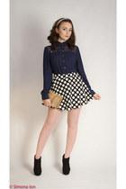 black Forever 21 skirt - black Urban Outfitters boots - navy Forever 21 shirt