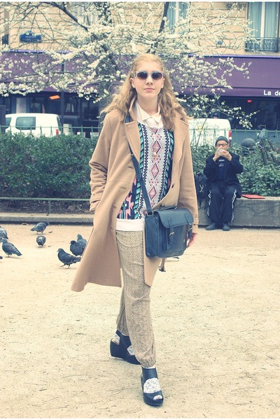 H&M coat - vintage sweater - Urban Outfitters bag - H&M wedges - H&M pants