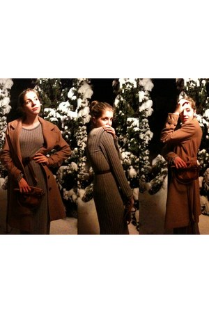 dark brown vintage belt - camel H&M coat - charcoal gray vintage dress - dark br