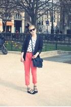H&M blazer - Urban Outfitters bag - Zara t-shirt - Topshop flats - Zara pants -