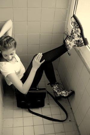 blue Zara shorts - white Dr Martens shoes - black Stradivarius tights